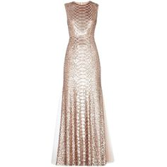 CHARLYZE ROUND-NECK SNAKE SEQUINED GOWN (1,060 SGD) ❤ liked on Polyvore featuring dresses, gowns, long dresses, vestidos, open back long dresses, sequin dress, metallic gown, open back sequin dress and sequin gown