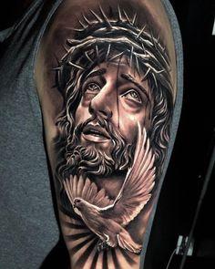 Jesus 3d Tattoo, Jesus Tattoo Design, Christ Tattoo, Angel Tattoo Designs, Jesus Tattoo Sleeve, Heaven Tattoos, God Tattoos, Body Art Tattoos, Sleeve Tattoos