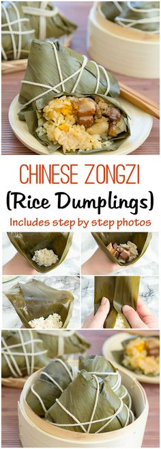 Chinese Zongzi (Rice Dumplings) with step by step photos.