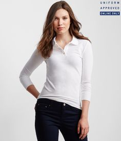 9bc7bb4836a Details about aeropostale womens long sleeve solid uniform pique polo