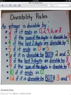 Teilbarkeitsregeln Anchor Chart for Divisibility Rules Math Strategies, Math Resources, Math Activities, Multiplication Strategies, Math Tips, Division Strategies, Division Activities, Math Charts, Math Anchor Charts