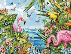 Flamingos by the Sea Jigsaw Puzzle