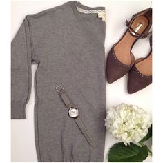 """Soft Cotton Blend Sweater Gray Brand new, super soft 3 quarters sleeve sweater. Length about 24"""". Reasonable offers welcome. No trades. Maison Jules Sweaters V-Necks"""