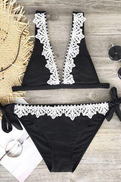 #CupShe - #CUPSHE Cupshe Black Swan Lace Bikini Sets - AdoreWe.com
