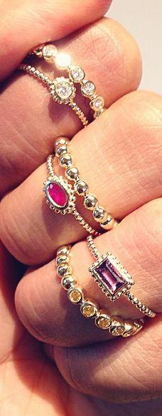 Delicate 18k Gold Gemstone Stacking Rings.