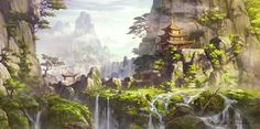 Mists of Pandaria Cliff Dwelling in Mountains - World of Warcraft