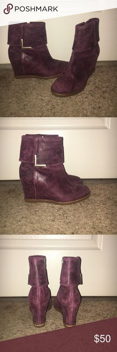 Deep purple wedge booties Deep purple wedge booties with gold accents made with genuine leather. Great condition. Size 6; runs a little small. Price negotiable! Johnston & Murphy Shoes Ankle Boots & Booties