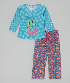 This Aqua Polka Dot 'Smile' Pajama Set - Toddler & Girls is perfect! #zulilyfinds