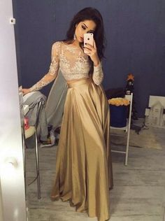 Elegant Prom Dresses, Lace Two Piece Prom Dress Modest Beautiful Cheap Long Prom Dress Shop for La Femme prom dresses. Elegant long designer gowns, sexy cocktail dresses, short semi-formal dresses, and party dresses. Two Piece Evening Dresses, Gold Evening Dresses, Gold Prom Dresses, Elegant Prom Dresses, Prom Dresses For Teens, A Line Prom Dresses, Modest Dresses, Sexy Dresses, Dress Prom