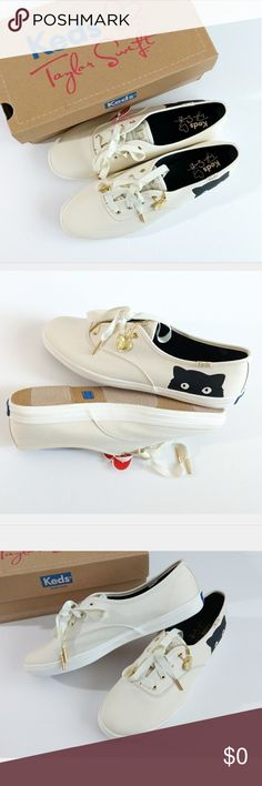 KEDS TAYLOR SWIFT CAT SHOES SIZE 9 Brand new Keds shoes. Size: 9 Breathable cotton upper adorned with a heart-shaped charm. Features a soft fabric lining. Comfortable arch support, and more wiggle room for your toes. Soft jersey tongue with added foam. Heel counter layered under liner and covered with terry cloth for enhanced comfort. Blown rubber midsole provides superior shock absorption and extra comfort. Rubber calendar outsole for excellent traction. Keds Shoes Sneakers