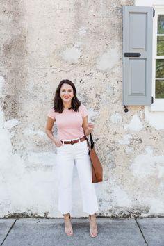Wide leg cropped jeans, styling white jeans, summer heels - My Style Vita @mystylevita