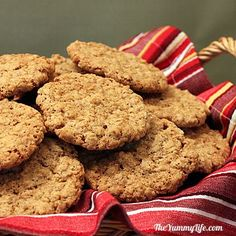 Whole Grain Oatmeal Cookies. A healthier version of a classic thin & crispy cookie recipe.  from TheYummyLife.com
