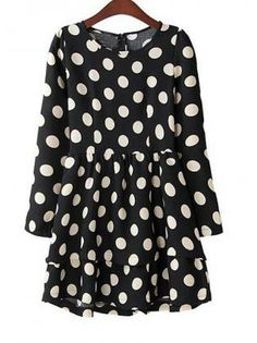 Cute Black Polk Dot Long Sleeve Skater Dress
