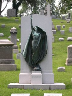 "The dramatic 10-foot bronze sculpture ""Aspiration"" was created in 1926 by Harriet Whitney Frishmuth (1880-1980) for the Rogers monument in the Forest Lawn Cemetery at Buffalo, New York."