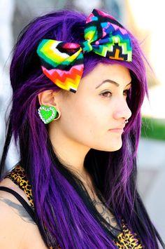 Colorful Hair Bow- Rainbow Bright Bold Neon Multi color- Aztec Native  Rockabilly pinup Retro Vintage Mexican. $8.00, via Etsy.
