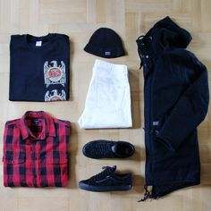 Outfitgrid - Carhartt jacket & hat / Supreme x Slayer tee / Wood Wood jeans / Kappahl shirt / Vans x Wtaps shoes