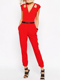 Red,V-neck,Cut Out,Sleeveelss,Jumpsuit,With Belt