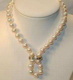 Vintage 3 Carat Diamond Pearl Necklace Shortener in Platinum $20K ...