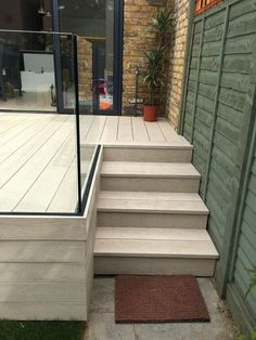 Millboard Composite Decking and Elite Balustrade (no railing stairs into back ya. Garden Stairs, Deck Stairs, Garden Bed, Patio Deck Designs, Patio Design, Garden Design, Patio Railing, Garden Railings, Casa Patio