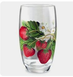 Portmeirion Strawberry Fair Earthenware Hand painted Glassware, Set of 4 Wine Glass Crafts, Wine Bottle Crafts, Strawberry Kitchen, Strawberry Decorations, Hand Painted Wine Glasses, Bottle Painting, Glass Art, Vase, Strawberry Delight