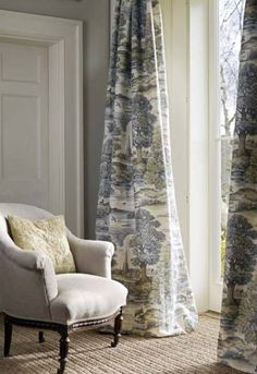 Classic English country Style - pastoral scene curtains 'Royal Oak' by lewis and. - Classic English country Style – pastoral scene curtains 'Royal Oak' by lewis and Wood - Toile Curtains, Curtains With Blinds, Country Curtains, Curtain Fabric, Cottage Curtains, Patterned Curtains, Long Curtains, Bedroom Curtains, Curtain Panels