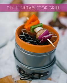 How To: Make a DIY Mini Tabletop Grill from Household Items! kind of like fondue but with a grilled touch<3