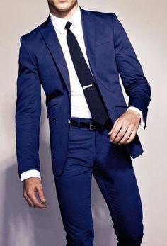 cool White Dress Shirt — Navy Tie — Black Leather Belt — Navy Dress Pants — Navy Blazer