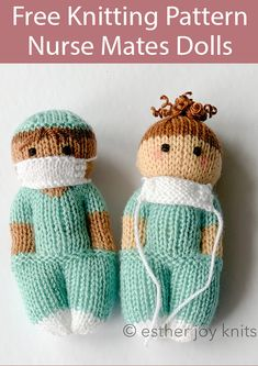 Free Knitting Pattern for Nurse Mates Dolls – Medical professional doll in scrubs with separate mask knit in one piece from the bottom-up either flat or in the round. Size Fingering 4 DK/Sport 5 Worsted Designed by Esther Braithwaite…Read Knitted Doll Patterns, Knitting Patterns Free, Crochet Patterns, Knitted Nurse Doll Pattern, Pattern Sewing, Crochet Toys, Knit Crochet, Nurse Mates, Easy Knitting