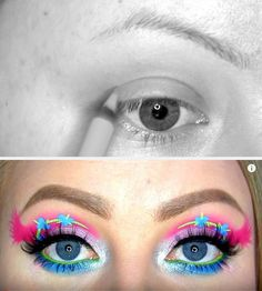 Before and After: Poppy from Trolls Eye Makeup by GlitterGirlC