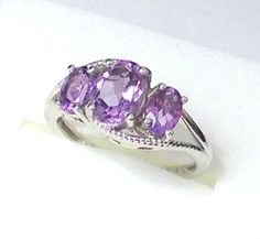 Amethyst 3 Stone Ring in .925 Sterling Silver, Platinum overlay (Size 7) #ThreeStone