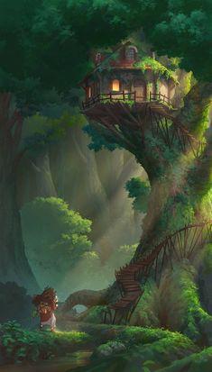 Tree house by NathanParkArt on DeviantArt - . Tree house by NathanParkArt on DeviantArt – house Fantasy Artwork, Fantasy Art Landscapes, Fantasy Concept Art, Landscape Art, Fantasy Kunst, Anime Fantasy, Fantasy Places, Environment Concept Art, Wow Art