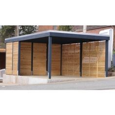 "Carport modern – The ""Clear Line"" from Freese Holz - Gartenhaus diy Diy Carport Kit, Carport Garage, Wall Spaces, Living Spaces, Carport Modern, Gazebo, Carport Designs, Diy Shed, Play Houses"