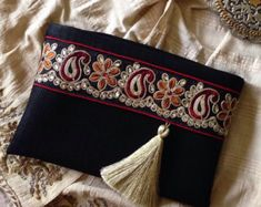 Black Faux Leather Clutch, Ethnic Clutch, Boho Bag, Bohemian clutch, Gift for… Pochette Diy, Floral Clutches, Fabric Bags, Clutch Purse, Boho Clutch, Handmade Bags, Leather Clutch, Handbag Accessories, Purses And Handbags