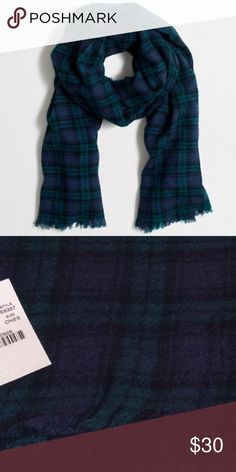 NWT J. Crew Plaid Scarf Gorgeous!!  New with tags. Still in manufacturer packaging. Extra long so it can also be worn like a blanket scarf. Fringed edges. Soft wool, not itchy at all. No trades. Price is firm. J. Crew Accessories Scarves & Wraps
