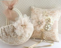 Bridal Ring Bearer Pillow and Flower Girl Basket Set in Champagne and Ivory - Dreamy via Etsy