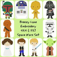 Space Wars Digital Machine Embroidery Design Set 4X4 & 5X7 - Breezy Lane Embroidery