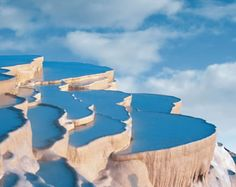 Pamukkale is located in the Inner Aegean region at a distance of 20 km from the town of Denizli in Turkey. Pamukkale, Hierapolis translates to Cotton Castle Places Around The World, Oh The Places You'll Go, Places To Travel, Travel Destinations, Places To Visit, Around The Worlds, Turkey Destinations, Pamukkale, Beautiful World