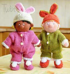 Knitted bunny, Knitted doll - Ravelry: Nursery Baby in bunny suit pattern by http://twinsknit.blogspot.com/
