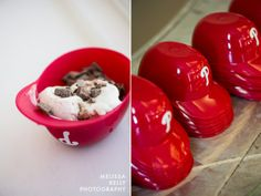 baseball helmet ice cream sundae bar at the wedding reception -- perfect for a phillies fan!