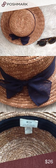 👒 Straw Boater Hat 👒 🔸 Pins and needles urban outfitters hat 🔸 boater style hat 🔸 adorable navy ribbon around the hat 🔸 medium size brim 🔸 perfect accessory to any outfit- a dress or jeans and a tee🔸 perfect for keeping the sun out of your eyes🔸 inside lining 🔸 looks similar to the brixton style🔸offers welcome, only through the 'make an offer' button! 🔸 Urban Outfitters Accessories Hats