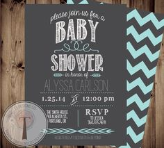 BABY BOY Baby Shower Invitation, baby shower invite, modern baby shower,simple, elegant, baby,aqua, front and back