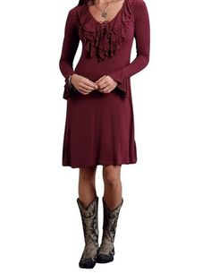 5f661928a4994a Stetson deep red ruffle dress worn with some awesome cowboy boots.