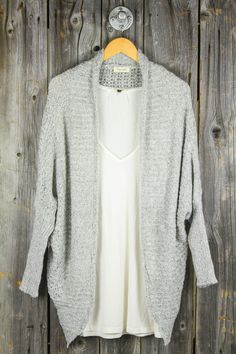 Ribbed Dolman Sleeve Duster Cardigan - Heather Grey