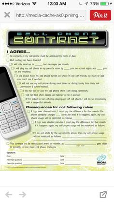 contract for texting teen