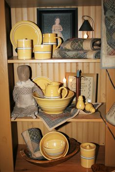 "Yellow ware alongside other ""country"" items"