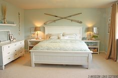 Love the Ores and all! Beachy bedroom idea-I like the wall colour