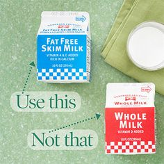 When your recipe calls for whole milk,  use fat-free (skim) or low-fat milk. Best used for: beverages, sauces & baked goods