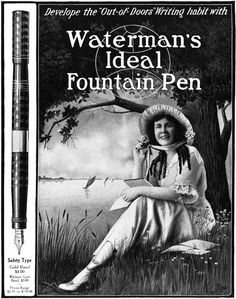 Develop the out-of-doors writing habit with Waterman's Fountain Pen (ad from 1917). #vintage #Edwardian #office #stationery #supplies #pens
