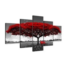 (1) Modular HD Posters Red Tree Abstract Canvas, Oil Painting On Canvas, Painting Prints, Wall Art Prints, Painting Art, Painting Abstract, Tree Canvas, Canvas Frame, Canvas Wall Art