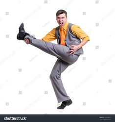 Full length of a dancing business man isolated on white background